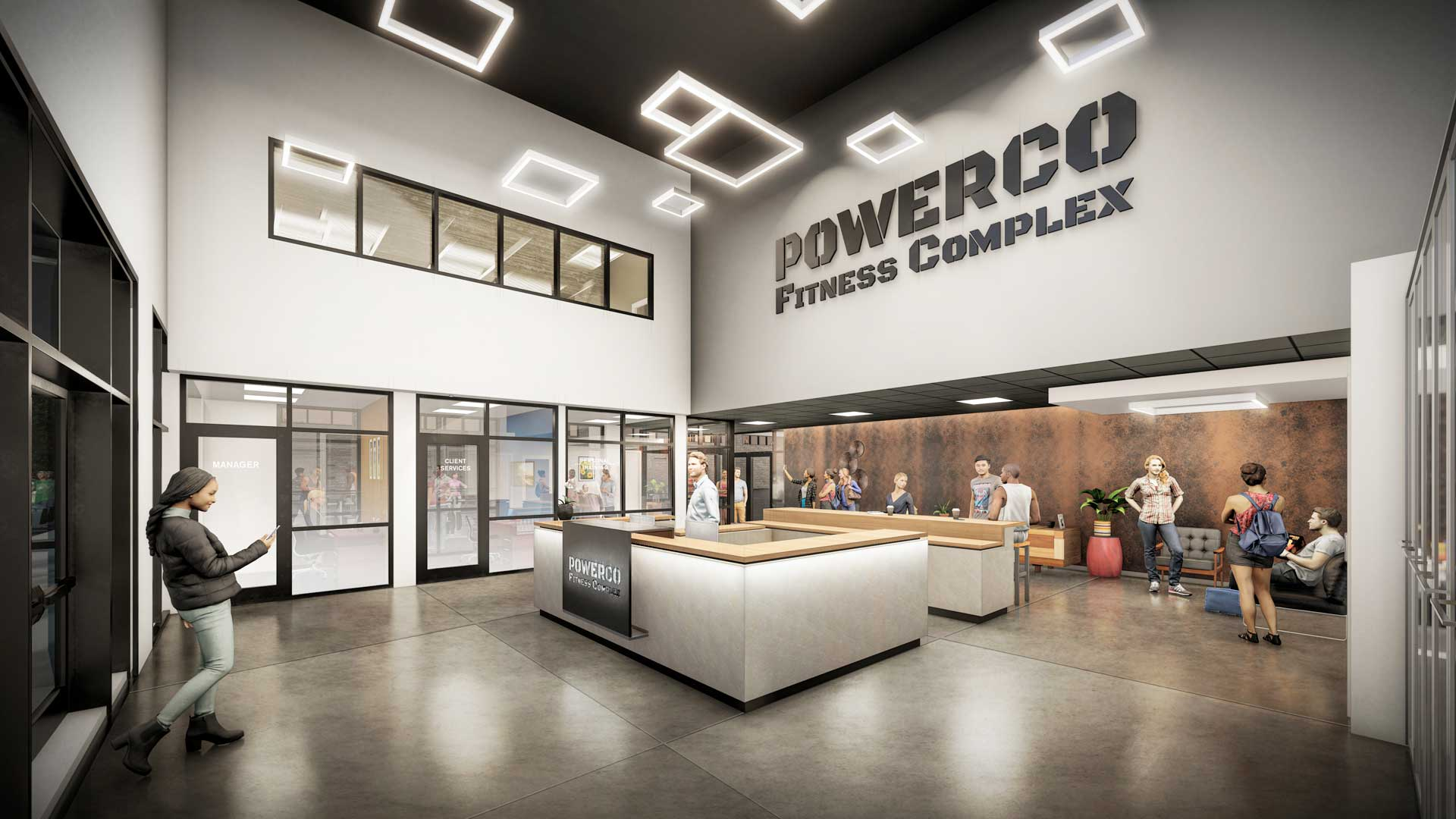 PowerCo Fitness Complex & Event Center Main Lobby